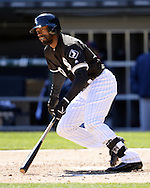 CHICAGO - APRIL 09:  Austin Jackson #10 of the Chicago White Sox bats against the Cleveland Indians on April 9, 2016 at U.S. Cellular Field in Chicago, Illinois.  The White Sox defeated the Indians 7-3.  (Photo by Ron Vesely)  Subject: Austin Jackson