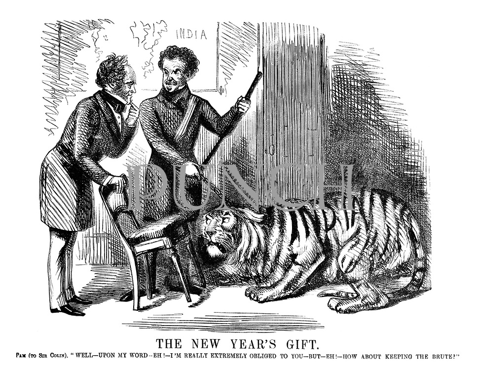 """The New Year's Gift. Pam (to Sir Colin). """"Well - upon my word - eh! - I'm really extremely obliged to you - but - eh! how about keeping the brute?"""""""
