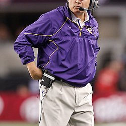 Jan 7, 2011; Arlington, TX, USA; LSU Tigers head coach Les Miles against the Texas A&M Aggies during the second half of the 2011 Cotton Bowl at Cowboys Stadium.  Mandatory Credit: Derick E. Hingle