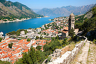 Kotor bay from the chuch of our Laday of Health ( Crkva Gospe od zdravja - 15th century)  above Kotor town, Montenegro .<br /> <br /> Visit our MONTENEGRO HISTORIC PLAXES PHOTO COLLECTIONS for more   photos  to download or buy as prints https://funkystock.photoshelter.com/gallery-collection/Pictures-Images-of-Montenegro-Photos-of-Montenegros-Historic-Landmark-Sites/C0000AG8SdQ.sYLU