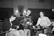 Lord Xan Rufus-isaacs, Mark chamberlain and Mike Fitzroy,  St Moritz 1985© Copyright Photograph by Dafydd Jones 66 Stockwell Park Rd. London SW9 0DA Tel 020 7733 0108 www.dafjones.com