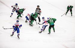 Castlunger Martin  of Fassa  vs Bohinc Martin of HK Olimpija during Ice hockey match between HK SZ Olimpija and SHC Fassa Falcons in Round #20 of Alps Hockey League 2020/21, on February 16, 2021 in Hala Tivoli, Ljubljana, Slovenia. Photo by Vid Ponikvar / Sportida