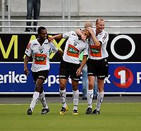 Fotball <br /> Adeccoligaen<br /> AKA Arena , Hønefoss <br /> 12.07.09<br /> Hønefoss BK  v  Moss FK  6-0<br /> <br /> Foto: Dagfinn Limoseth, Digitalsport<br /> Leo Olsen , Kamal Saaliti og Christer Ellefsen , Hønefoss