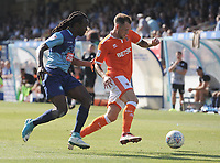 Blackpool's Harry Pritchard under pressure from Wycombe Wanderers' Marcus Bean<br /> <br /> Photographer Kevin Barnes/CameraSport<br /> <br /> The EFL Sky Bet League One - Wycombe Wanderers v Blackpool - Saturday 4th August 2018 - Adams Park - Wycombe<br /> <br /> World Copyright © 2018 CameraSport. All rights reserved. 43 Linden Ave. Countesthorpe. Leicester. England. LE8 5PG - Tel: +44 (0) 116 277 4147 - admin@camerasport.com - www.camerasport.com