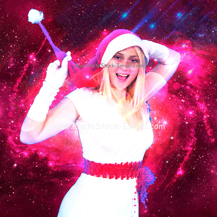 Digitally enhanced image of an Excited and happy Blonde woman with Santa Hat