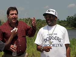 01 June 2010. New Orleans, Louisiana, USA.  <br /> Clifford Troxler with Spike Lee at the Breton Sound Marina in Hopedale for his latest movie,  'If God is Willing and da Creek Don't Rise.'<br /> Photo ©; Charlie Varley/varleypix.com.