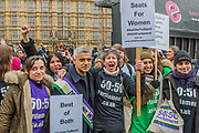 Sadiq Khan, Mayor of London - #March4Women 2018, a march and rally in London to celebrate International Women's Day and 100 years since the first women in the UK gained the right to vote.  Organised by Care International the march stated at Old Palace Yard and ended in a rally in Trafalgar Square.