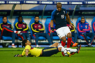 Colombia's Abel Aguilar tackles France's Djibril Sibide during the International Friendly Game football match between France and Colombia on march 23, 2018 at Stade de France in Saint-Denis, France - Photo Geoffroy Van Der Hasselt / ProSportsImages / DPPI
