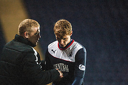 Falkirk's manager Gary Holt with Falkirk's Jay Fulton after being subbed.<br /> Falkirk 3 v 1 Raith Rovers, Scottish Championship game at The Falkirk Stadium.