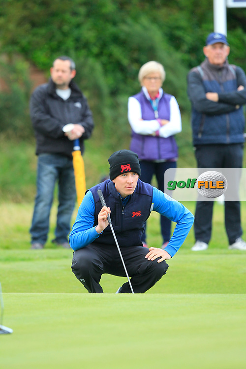 Euan Walker (GB&I) on the 2nd during the Foursomes at the Walker Cup, Royal Liverpool Golf CLub, Hoylake, Cheshire, England. 07/09/2019.<br /> Picture Thos Caffrey / Golffile.ie<br /> <br /> All photo usage must carry mandatory copyright credit (© Golffile | Thos Caffrey)