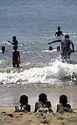 Boys playing in Tarrafal beach, the msot touristical place in Santiago island.