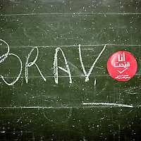 """Tunis, Tunisia 23 October 2011<br /> """"Bravo"""" is written in a blackboard of a polling station, minutes afters the closing of the vote.<br /> Tunisians choose representatives for a Constituent Assembly afetr the revolution of January 2011. <br /> Photo: Ezequiel Scagnetti © European Union"""