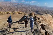 Volcanic rock split, Darya Ajdahar, or Valley of the Dragon, Bamyan, Afghanistan