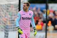 Scott Brown, the Wycombe Wanderers goalkeeper looks on. EFL Skybet football league two match, Newport county v Wycombe Wanderers at Rodney Parade in Newport, South Wales on Saturday 9th September 2017.<br /> pic by Andrew Orchard, Andrew Orchard sports photography.
