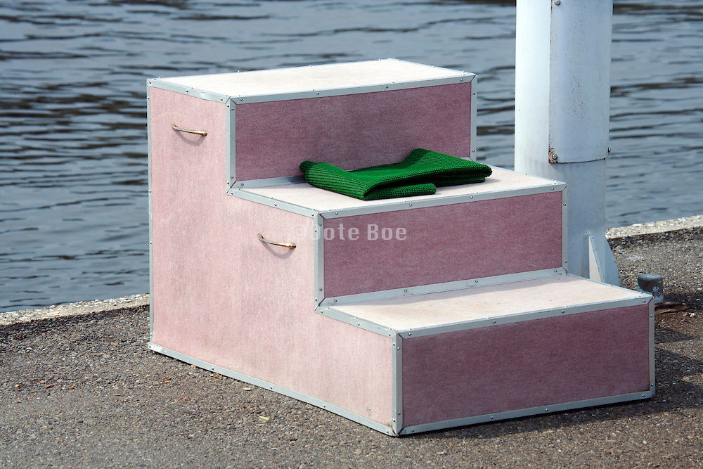 little stairs at water edge with green mat