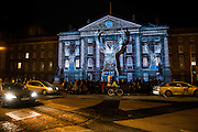 NO FEE PICTURES <br /> 30/12/14 Prepare to be WOW'd as 3D light projections will bring to life the facades of some of Dublin's most iconic buildings – including Trinity College. Watch in wonder as Luminosity springs these buildings to life, telling they're unique story with cutting edge 3D digital displays. The family friendly spectacle takes place daily from 5pm over 3 days. *FREE ADMISSION   FAMILY FRIENDLY Picture:Arthur Carron