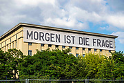 """An external view of the world famous Berghain Club, with a banner reading """"Tomorrow Is The Question"""" in Berlin, Germany, July 14, 2021."""