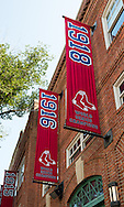 Boston Red Sox championship banners outside Fenway Park.