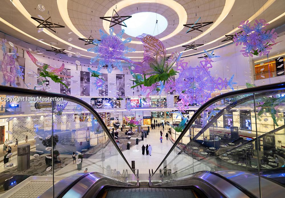 Dubai Mall fashion atrium decorated for Christmas  in Downtown Dubai, United Arab Emirates