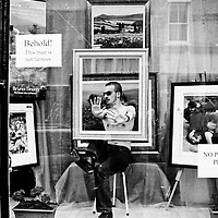 As part of Streets Ahead various shop windows on Bold Street had.living mannequin's in by a group called Cacahute. This guy wasn't famous.  Apparently he didn't like his photo being taken.