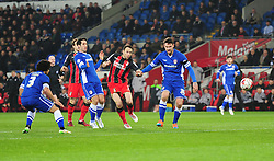 Bournemouth's Marc Pugh hits the crossbar. - Photo mandatory by-line: Alex James/JMP - Mobile: 07966 386802 - 17/03/2015 - SPORT - Football - Cardiff - Cardiff City Stadium - Cardiff City v AFC Bournemouth - Sky Bet Championship