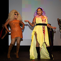 Stella Martin, left, and Sasha Fox, right, strut the stage at the Gallup PRIDEfest True Colors Drag Show Saturday night at the sold out El Morro Theatre to loud cheers from the crowd.