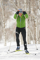 A young woman nordic skate skiing at Jackson Hole Mountain Resort in Jackson Hole, Wyoming.