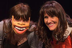 "© Licensed to London News Pictures. 29/02/2016. London, UK. Nina Conti (right).  Photocall with comedian and ventriloquist Nina Conti for her show ""In Your Face"" at the Criterion Theatre. Performances from 25 February to 12 March 2016. Photo credit: Bettina Strenske/LNP"