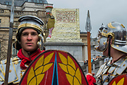 Roman guards - The Wintershall Players open-air re-enactment of 'The Passion of Jesus' on Good Friday in the rain in Trafalgar Square. It featured a cast of over 100 volunteers from in and around London.