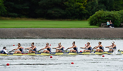 Great Britain's Anastasia Merlott Chitty, Rebecca Girling, Fiona Gammond, Katherine Douglas, Holly Hill, Holly Norton, Karen Bennett, Rebecca Shorten and Matilda Horn compete in the Women's Eight Preliminary Race for Lanes during day two of the 2018 European Championships at the Strathclyde Country Park, North Lanarkshire.