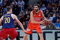 Valencia Basket's Fernando San Emeterio and FCB Lassa's Marcus Eriksson during Semi Finals match of 2017 King's Cup at Fernando Buesa Arena in Vitoria, Spain. February 18, 2017. (ALTERPHOTOS/BorjaB.Hojas)