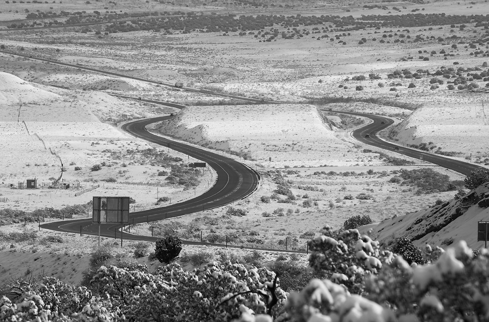 Highway curves just west of the Utah Colorado border ....