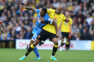 Younes Kaboul of Watford grapples with Callum Wilson of Bournemouth. Premier league match, Watford v AFC Bournemouth at Vicarage Road in Watford, London on Saturday 1st October 2016.<br /> pic by John Patrick Fletcher, Andrew Orchard sports photography.