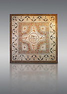 Roman floor mosaic with birds and floral decorations.  From via Imperale, now Columbus, near the Porta Ardeatina, Rome. 3rd century AD. National Roman Museum, Rome, Italy .<br /> <br /> If you prefer to buy from our ALAMY PHOTO LIBRARY  Collection visit : https://www.alamy.com/portfolio/paul-williams-funkystock/national-roman-museum-rome-mosaic.html <br /> <br /> Visit our ROMAN ART & HISTORIC SITES PHOTO COLLECTIONS for more photos to download or buy as wall art prints https://funkystock.photoshelter.com/gallery-collection/The-Romans-Art-Artefacts-Antiquities-Historic-Sites-Pictures-Images/C0000r2uLJJo9_s0