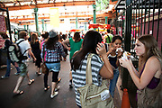 Girls eating burgers. Borough Market is a thriving Farmers market near London Bridge. Saturday is the busiest day.