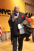 New York, NY- January 16:  Former New York City David N. Dinkins at the New York City Service Program in Honor of Martin Luther King Jr. Day held at the Mirabel Sisters Campus in West Harlem, New York City. Photo Credit: Terrence Jennings