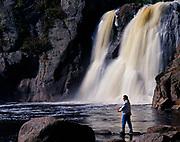 Jon Lundberg fly fishing the Baptism River below High Falls, Tettegouche State Park, Minnesota.