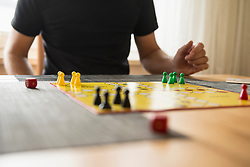 Mid section of a man playing board game, Bavaria, Germany