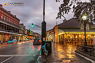Historic Cafe Du Monde at dawn on Decatur Street in New Orleans, Louisiana, USA