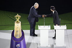 September 20, 2019, Tokyo, Japan: (L to R) World Rugby chairman Bill Beaumont shakes hands with Japan's Crown Prince Akishino during the opening ceremony of the Rugby World Cup 2019 to mark the kick-off of the matches at Tokyo Stadium. The tournament runs from September 20 to November 2. (Credit Image: © Rodrigo Reyes Marin/ZUMA Wire)