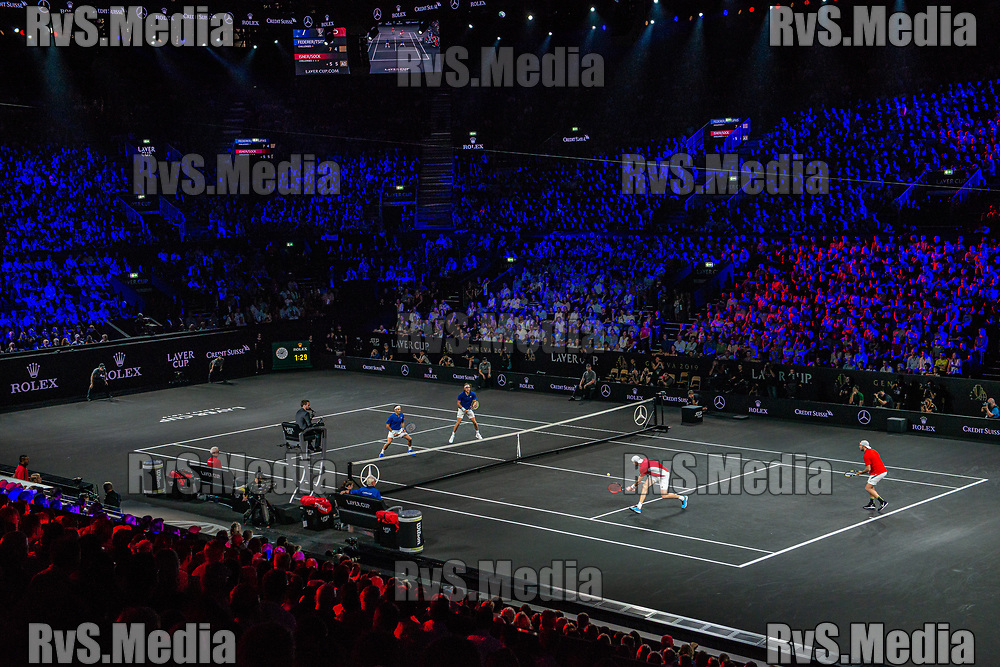 GENEVA, SWITZERLAND - SEPTEMBER 22: John Isner of Team World in action during Day 3 of the Laver Cup 2019 at Palexpo on September 20, 2019 in Geneva, Switzerland. The Laver Cup will see six players from the rest of the World competing against their counterparts from Europe. Team World is captained by John McEnroe and Team Europe is captained by Bjorn Borg. The tournament runs from September 20-22. (Photo by Robert Hradil/RvS.Media)