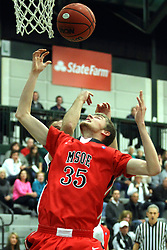25 November 2014: Lucas Verdun  during an NCAA mens division 3 CCIW basketball game between the Milwaukee School of Engineering Raiders and the Illinois Wesleyan Titans in Shirk Center, Bloomington IL