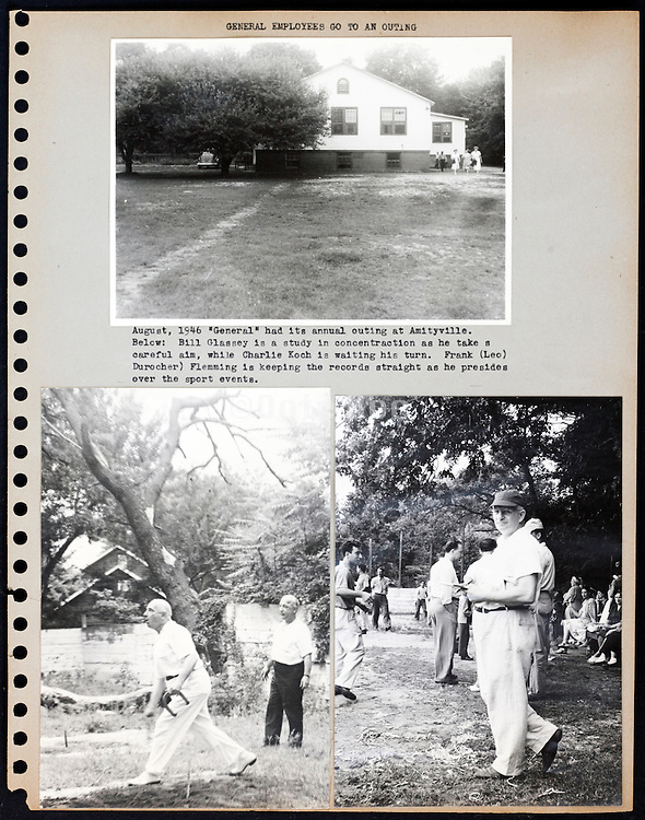 page from a photo album with coworkers on a sporting day outing USA 1946