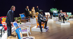 "Bonhams, London, February 29th 2016. L-R Atrist David Bent, Victoria Baker-Harber, Emma - Viscountess Weymouth of Longleat, Mark Francis Vandelli, Samson Soboye and actress Maureen Lipman during a photocall for ""Sitting Pretty"", featuring unique, hand painted and upholstered chairs made by 30 celebrities and artists, at Bonhams ahead of their auction in support of a leading AIDS charity, CHIVA Africa.<br /> ©Paul Davey<br /> FOR LICENCING CONTACT: Paul Davey +44 (0) 7966 016 296 paul@pauldaveycreative.co.uk"