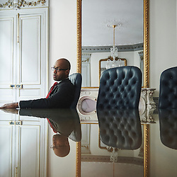 Paris, France. June 18, 2015. Jean-Luc Konan, Cofina's CEO, posing in a visiting office in Paris. Photo: Antoine Doyen