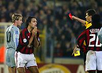 Fotball, 4. november 2003, Champions League,, Club Brugge ( Brügge )-Milan 0-1,  Alessandro Nesta, Milan fikk rødt kort av dommer Herbert Fandel