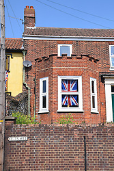 Union Jack flag for 75th anniversary of VE Day, Norwich UK May 2020.  All celebrations cancelled during to Coronavirus lockdown.