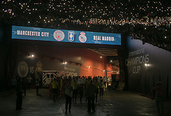 July 26, 2017 - Los Angeles, California, U.S - The teams of Real Madrid and Manchester City come out of the tunnel to a blacked out stadium as fans use the lights on their cell phones to illuminate the background during their International Champions Cup match on Wednesday July 26, 2017 at the Los Angeles Memorial Coliseum in Los Angeles, CA.. Manchester City defeats Real Madrid, 4-1. (Credit Image: © Prensa Internacional via ZUMA Wire)