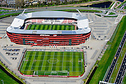 Nederland, Noord-Holland, gemeente Alkmaar, 20-04-2015; AFAS Stadion van AZ met een grasmat die bestaat uit en mengsel van normaal gras en kunstgras. Voorheen DSB Stadion, met naast het stadion het oefenveld.<br /> AZ '67 football stadium with turf made of artificial grass mixed with normal grass.<br /> luchtfoto (toeslag op standard tarieven);<br /> aerial photo (additional fee required);<br /> copyright foto/photo Siebe Swart