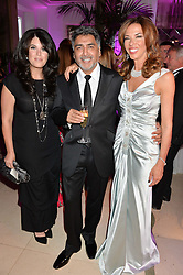 Left to right, MONICA LEWINSKI, JAMES CAAN and HEATHER KERZNER at the QBF Spring Gala in aid of the Red Cross War Memorial Children's Hospital hosted by Heather Kerzner and Jeanette Calliva at Claridge's, Brook Street, London on 12th May 2015.